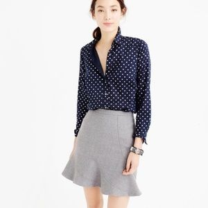 J. Crew Foil Dot Navy Button-down Shirt Sz 2